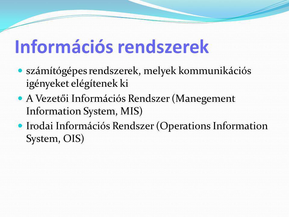 Információs rendszerek  számítógépes rendszerek, melyek kommunikációs igényeket elégítenek ki  A Vezetői Információs Rendszer (Manegement Informatio
