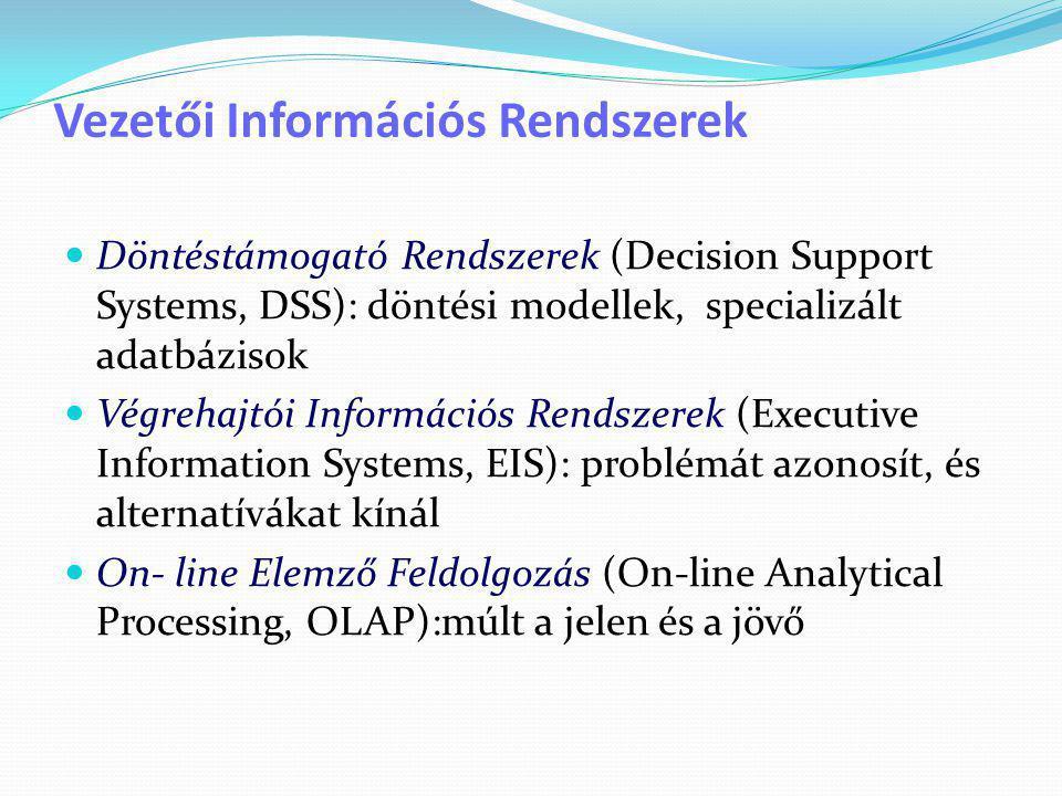 Vezetői Információs Rendszerek  Döntéstámogató Rendszerek (Decision Support Systems, DSS): döntési modellek, specializált adatbázisok  Végrehajtói I