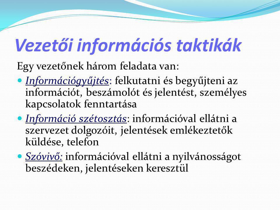 Vezetői információs taktikák Egy vezetőnek három feladata van:  Információgyűjtés: felkutatni és begyűjteni az információt, beszámolót és jelentést,