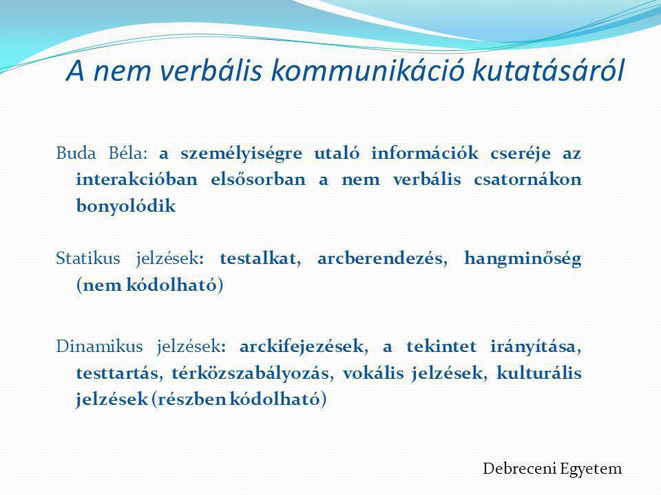 A nem verbális kommunikáció kutatásáról Buda Béla: a személyiségre utaló információk cseréje az interakcióban elsősorban a nem verbális csatornákon bo