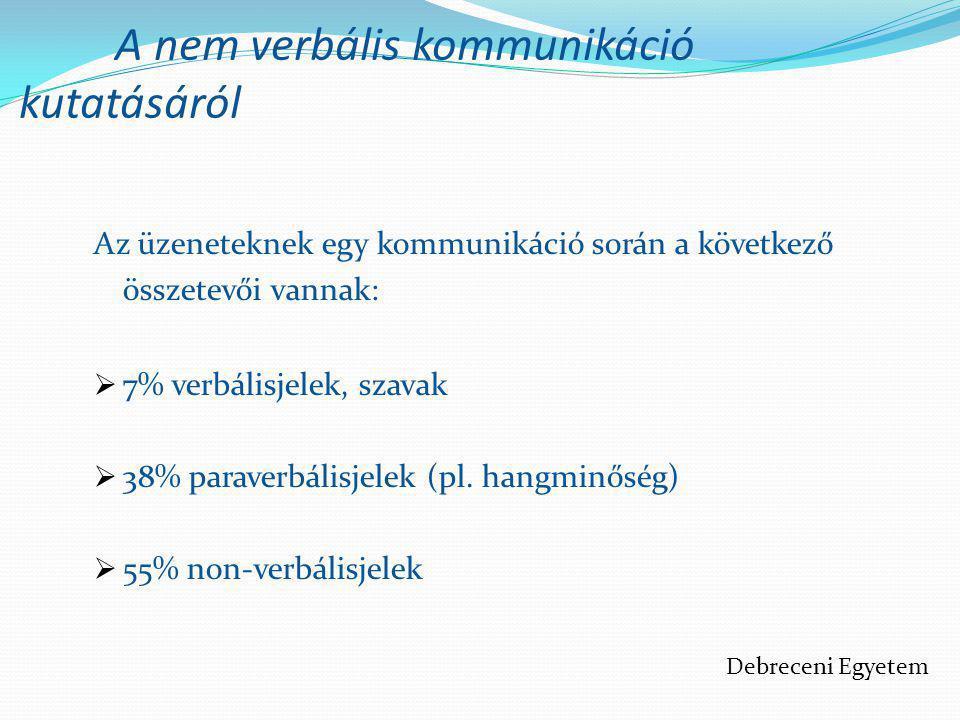 A nem verbális kommunikáció kutatásáról Az üzeneteknek egy kommunikáció során a következő összetevői vannak:  7% verbálisjelek, szavak  38% paraverb