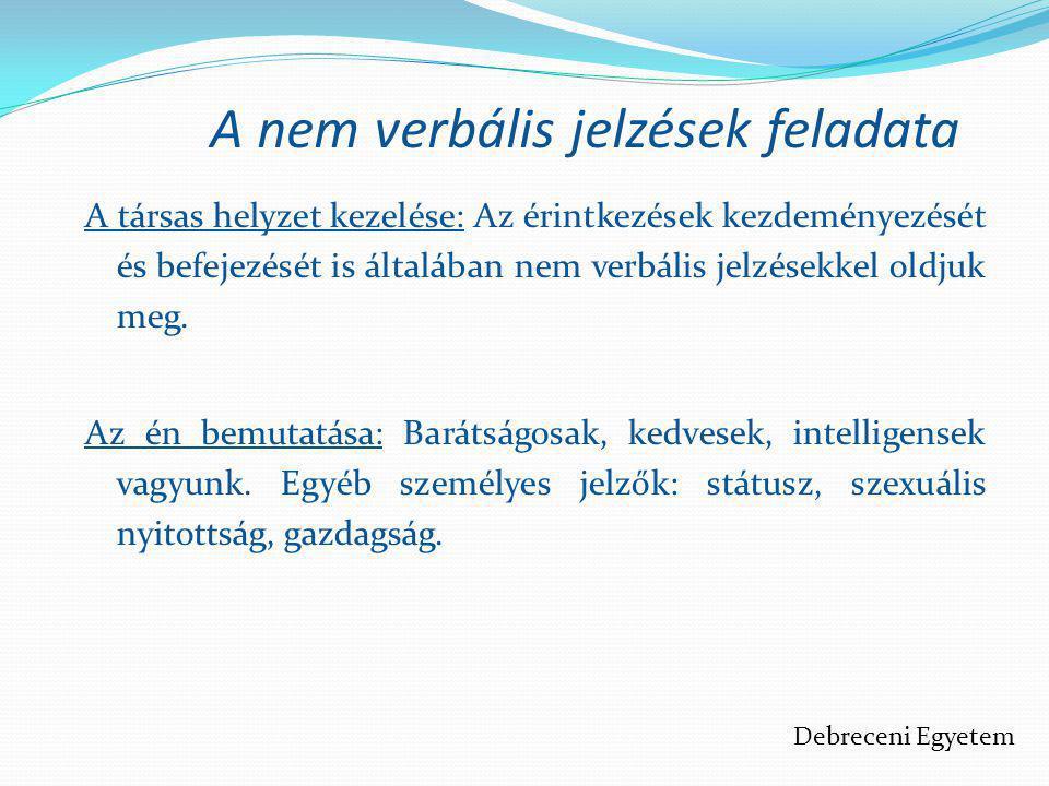 A nem verbális jelzések feladata A társas helyzet kezelése: Az érintkezések kezdeményezését és befejezését is általában nem verbális jelzésekkel oldju