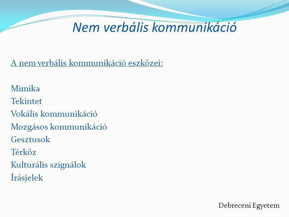 Nem verbális kommunikáció A nem verbális kommunikáció eszközei: Mimika Tekintet Vokális kommunikáció Mozgásos kommunikáció Gesztusok Térköz Kulturális