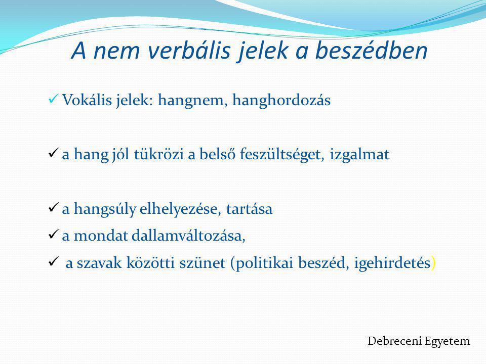 A nem verbális jelek a beszédben  Vokális jelek: hangnem, hanghordozás  a hang jól tükrözi a belső feszültséget, izgalmat  a hangsúly elhelyezése,