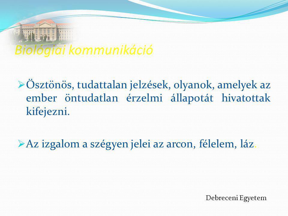 Közvetlen emberi kommunikáció modern elmélete  egy társadalmi szituációban történik, e szituációnak mindig van valamilyen értelme, minősítési lehetősége a kollektív tudatban  a kommunikáció mindig társadalmilag adott viszonylatban történik  fő formája a beszéd Debreceni Egyetem