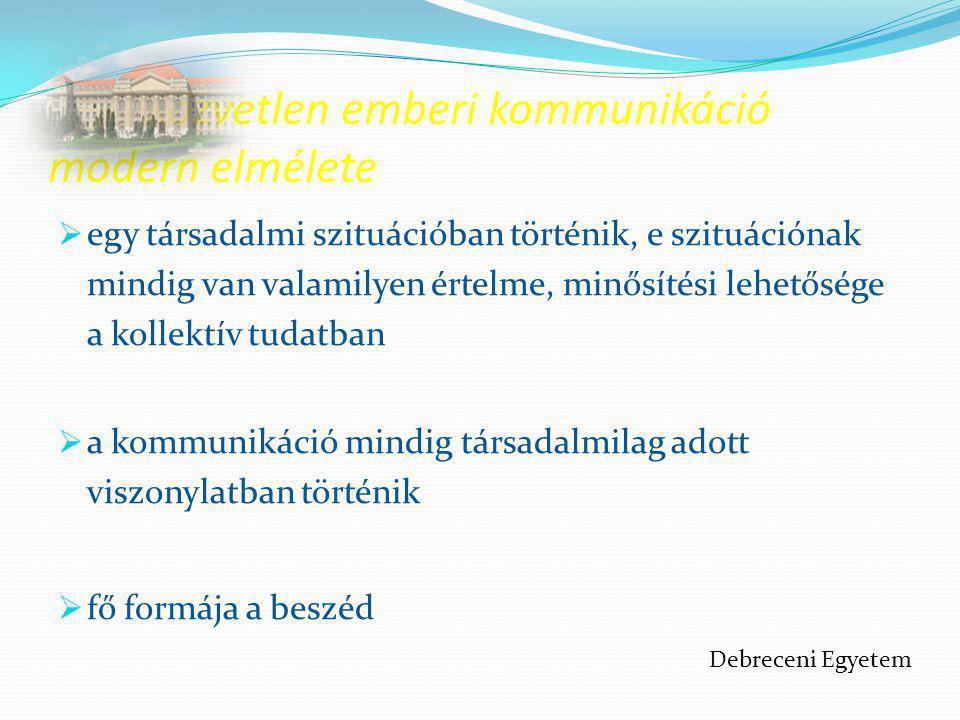 Nem verbális kommunikáció A nem verbális kommunikáció eszközei: Mimika Tekintet Vokális kommunikáció Mozgásos kommunikáció Gesztusok Térköz Kulturális szignálok Írásjelek Debreceni Egyetem