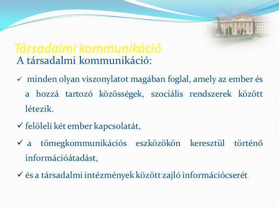 Társadalmi kommunikáció A társadalmi kommunikáció:  minden olyan viszonylatot magában foglal, amely az ember és a hozzá tartozó közösségek, szociális