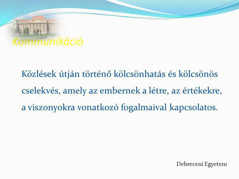 Mozgásos (akciós) kommunikációs csatornák  Kommunikáció a gesztusok révén  Kommunikáció a testtartás révén  A térközszabályozás kommunikációs csatornája Debreceni Egyetem