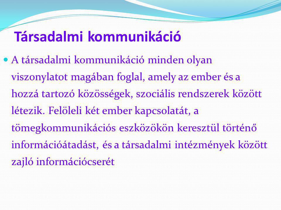 Társadalmi kommunikáció  A társadalmi kommunikáció minden olyan viszonylatot magában foglal, amely az ember és a hozzá tartozó közösségek, szociális