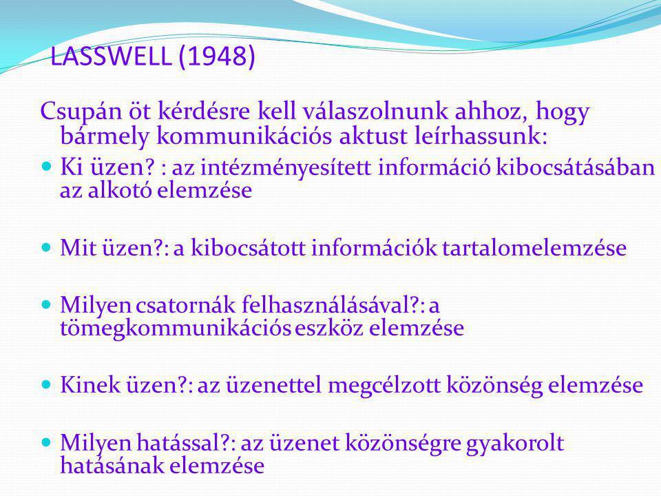 LASSWELL (1948) Csupán öt kérdésre kell válaszolnunk ahhoz, hogy bármely kommunikációs aktust leírhassunk:  Ki üzen ? : az intézményesített informáci