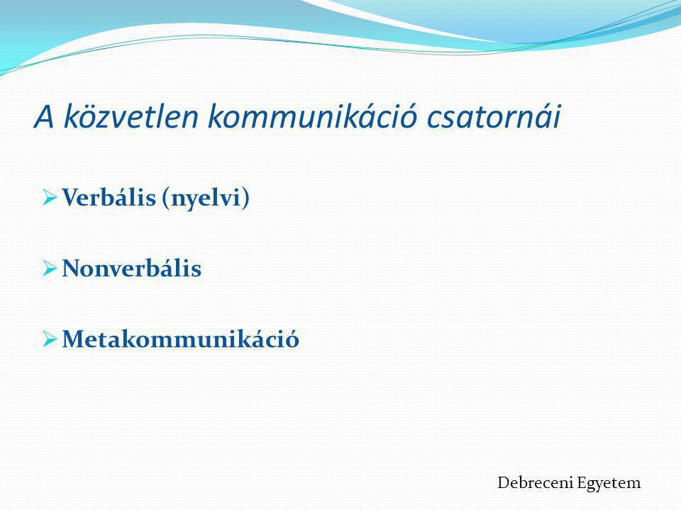 A közvetlen kommunikáció csatornái  Verbális (nyelvi)  Nonverbális  Metakommunikáció Debreceni Egyetem