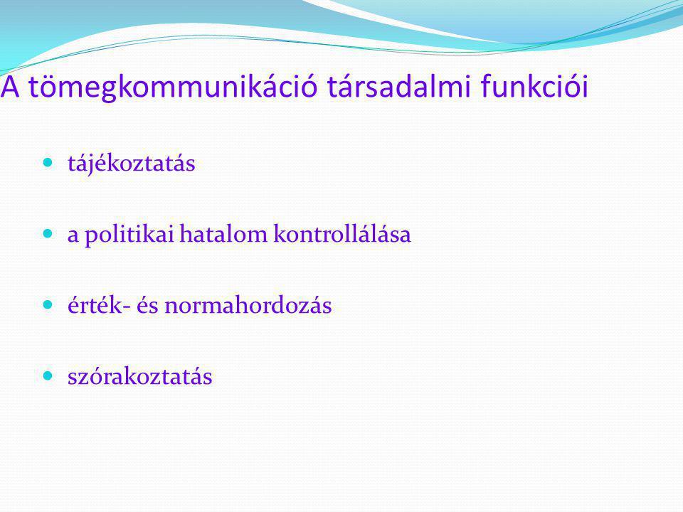 A tömegkommunikáció társadalmi funkciói  tájékoztatás  a politikai hatalom kontrollálása  érték- és normahordozás  szórakoztatás
