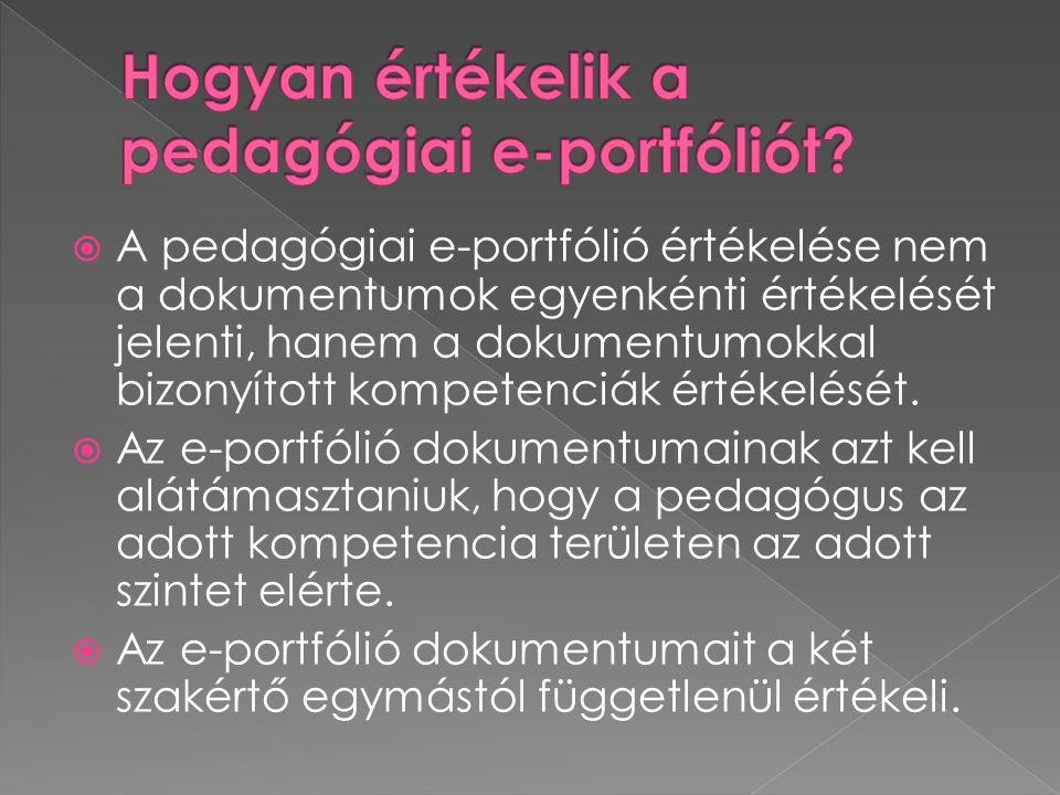  A pedagógiai e-portfólió értékelése nem a dokumentumok egyenkénti értékelését jelenti, hanem a dokumentumokkal bizonyított kompetenciák értékelését.