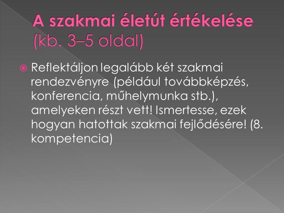  Reflektáljon legalább két szakmai rendezvényre (például továbbképzés, konferencia, műhelymunka stb.), amelyeken részt vett.