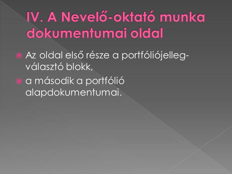  Az oldal első része a portfóliójelleg- választó blokk,  a második a portfólió alapdokumentumai.