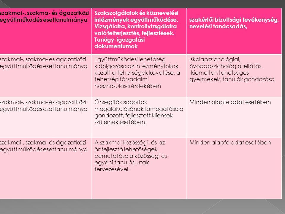 szakmai-, szakma- és ágazatközi együttműködés esettanulmánya Szakszolgálatok és köznevelési intézmények együttműködése.