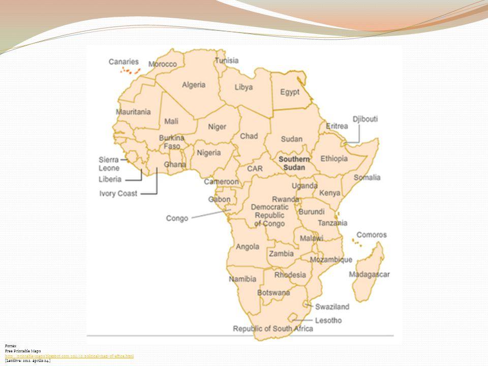 Forrás: Free Printable Maps http://printable-maps.blogspot.com/2011/12/political-map-of-africa.html [Letöltve: 2012. április 24.]