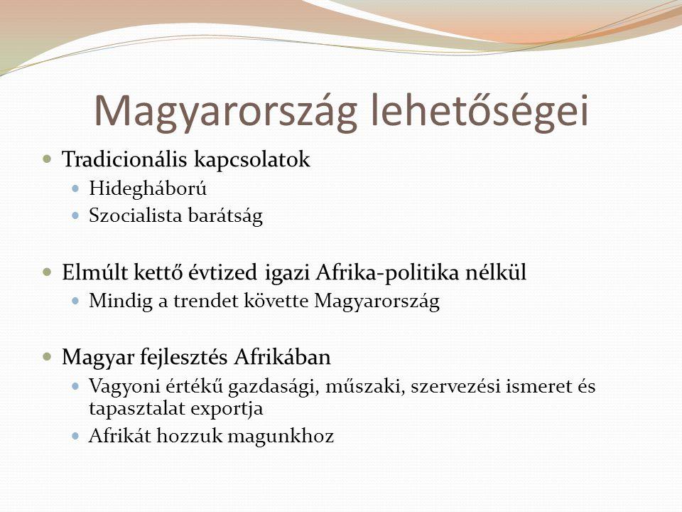 Magyarország lehetőségei  Tradicionális kapcsolatok  Hidegháború  Szocialista barátság  Elmúlt kettő évtized igazi Afrika-politika nélkül  Mindig