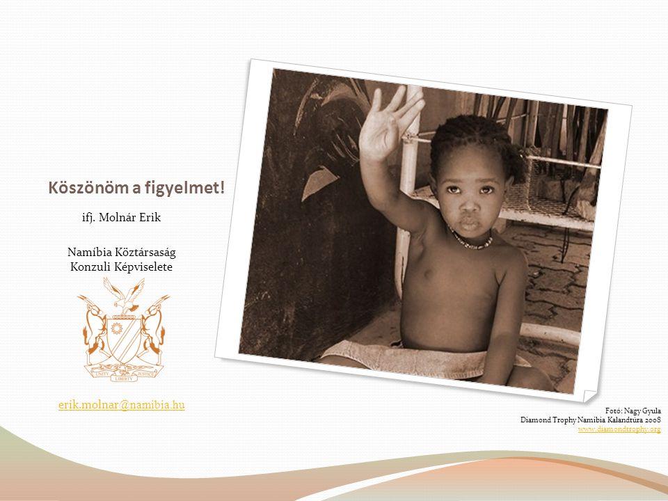 Köszönöm a figyelmet! ifj. Molnár Erik Namíbia Köztársaság Konzuli Képviselete erik.molnar @namibia.hu Fotó: Nagy Gyula Diamond Trophy Namibia Kalandt