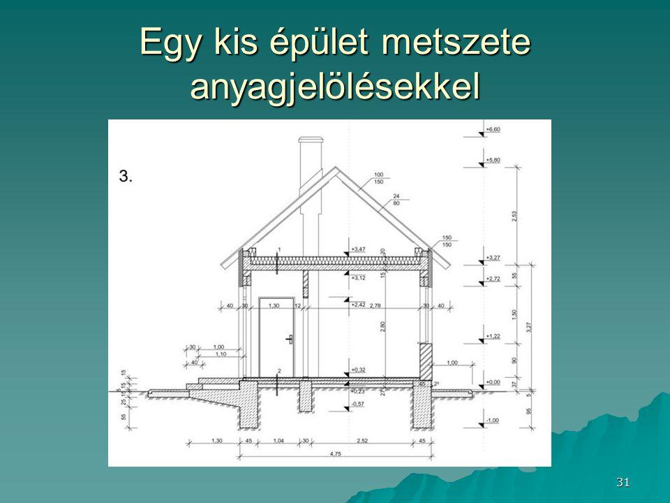 31 Egy kis épület metszete anyagjelölésekkel