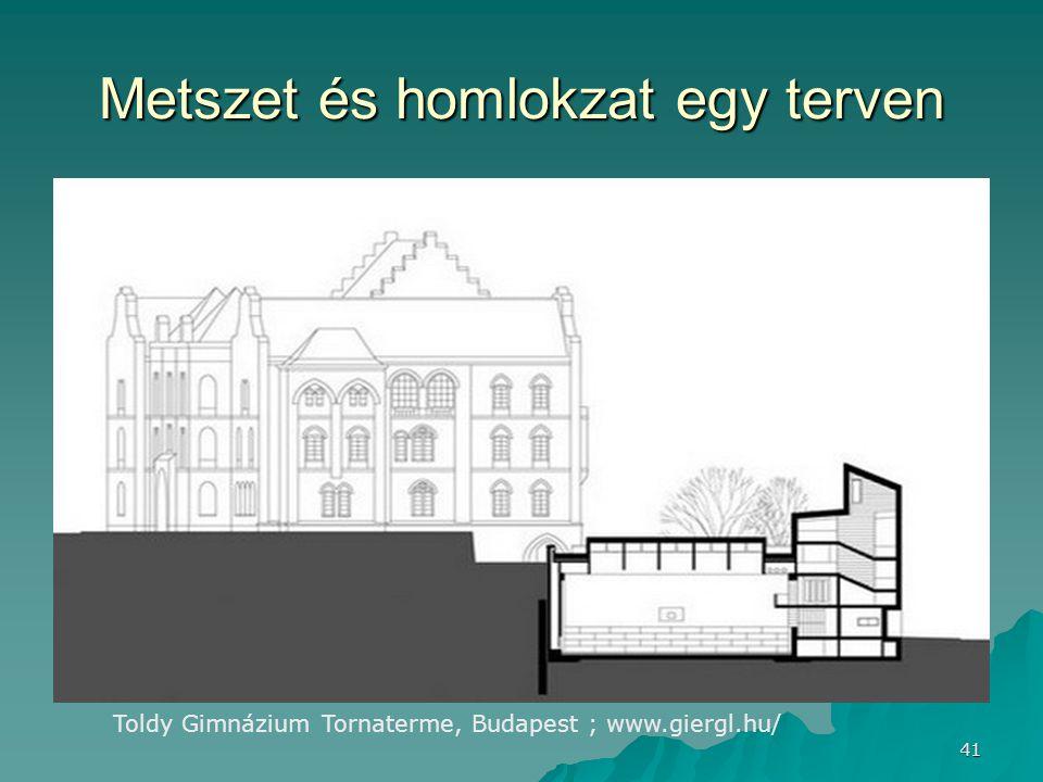 41 Metszet és homlokzat egy terven Toldy Gimnázium Tornaterme, Budapest ; www.giergl.hu/