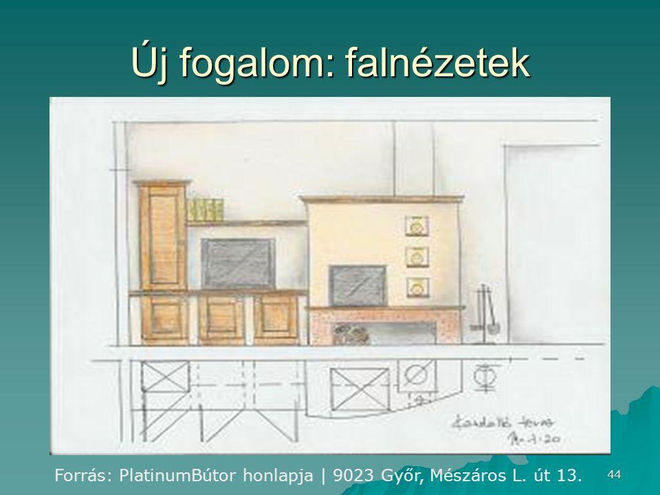 44 Új fogalom: falnézetek Forrás: PlatinumBútor honlapja | 9023 Győr, Mészáros L. út 13.