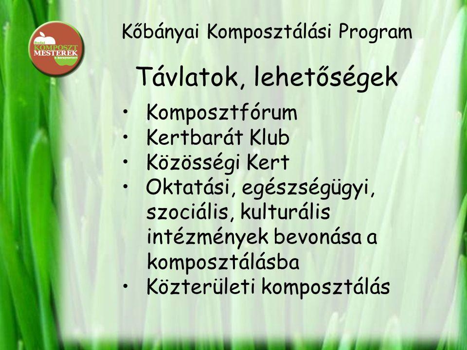Kőbányai Komposztálási Program Távlatok, lehetőségek • Komposztfórum • Kertbarát Klub • Közösségi Kert • Oktatási, egészségügyi, szociális, kulturális intézmények bevonása a komposztálásba • Közterületi komposztálás