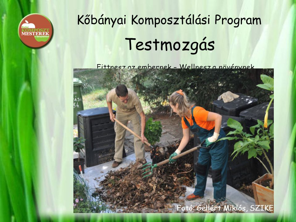 Kőbányai Komposztálási Program Testmozgás Fittnesz az embernek – Wellnesz a növénynek Fotó: Gellért Miklós, SZIKE