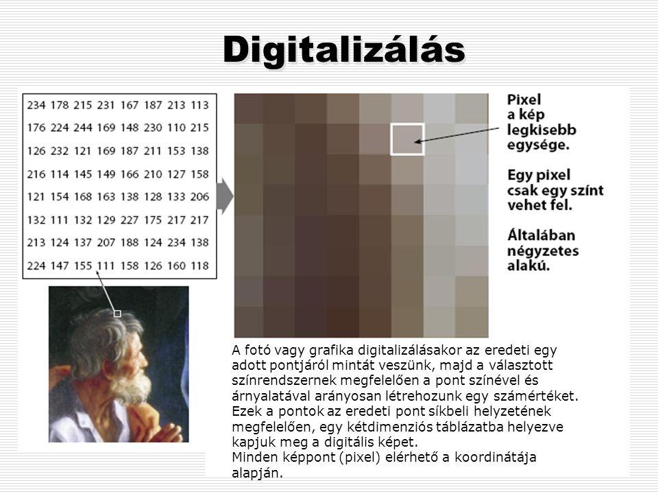 Digitális képfeldolgozás A számítógép a képi információkat is digitális adatokként kezeli, így a kép minden jellemzőjéhez valamilyen számot rendel. A