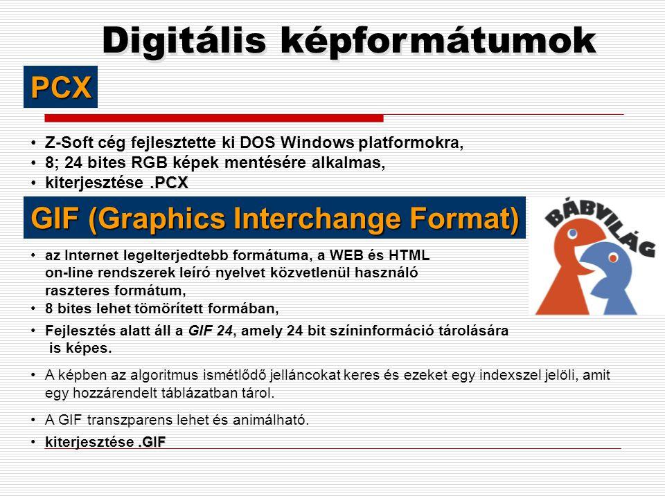 Digitális képformátumok •veszteséges tömörítési eljárással készül, •tömörítési arány: 1:5; 1:15, •A tömörítés lényege: az emberi szem kevésbé érzékeny