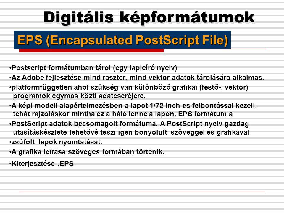 Digitális képformátumok PNG (Portable Network Graphics) 1995-ben a World-Wide-Web Consortium (W3C) a GIF alternatívájaként fejlesztette ki. A cél a GI