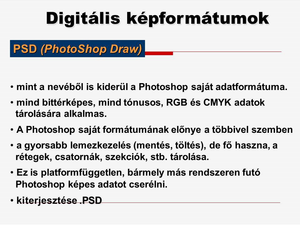 Digitális képformátumok •Postscript formátumban tárol (egy lapleíró nyelv) •Az Adobe fejlesztése mind raszter, mind vektor adatok tárolására alkalmas.