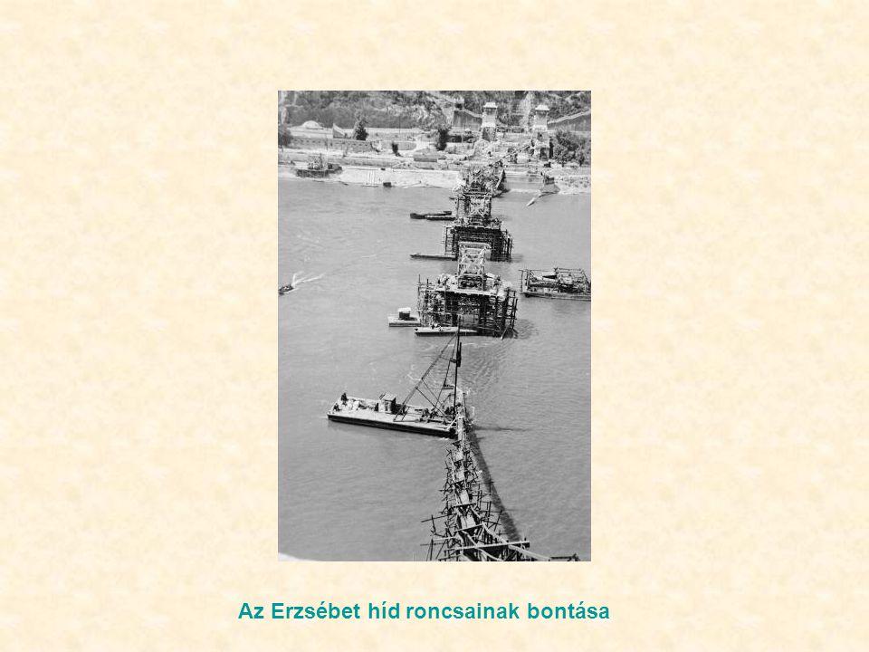 Az Erzsébet híd roncsainak bontása