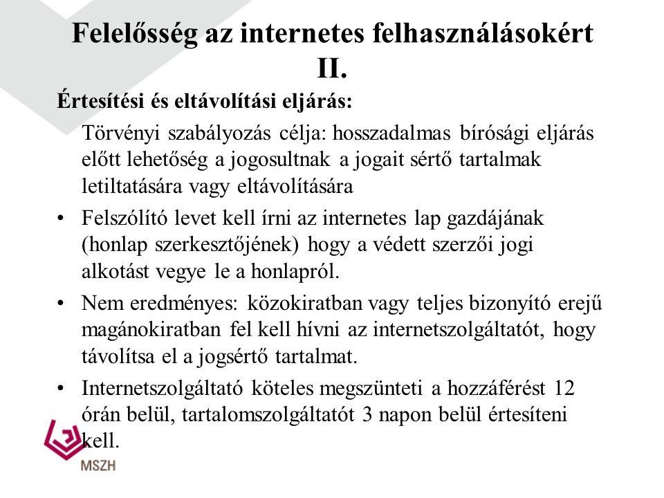 Felelősség az internetes felhasználásokért II.