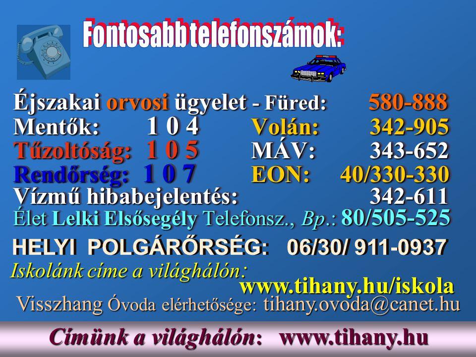 Címünk a világhálón : www.tihany.hu Iskolánk címe a világhálón : Iskolánk címe a világhálón : www.tihany.hu/iskola www.tihany.hu/iskola Éjszakai orvos