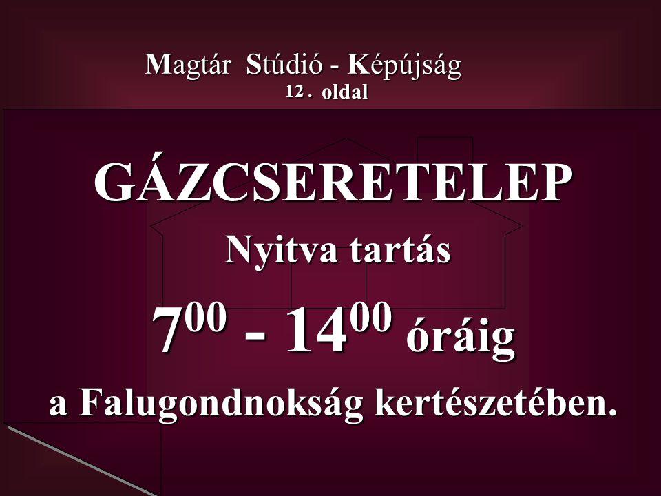 12. oldal Magtár Stúdió - Képújság GÁZCSERETELEP Nyitva tartás Nyitva tartás 7 00 - 14 00 óráig a Falugondnokság kertészetében.