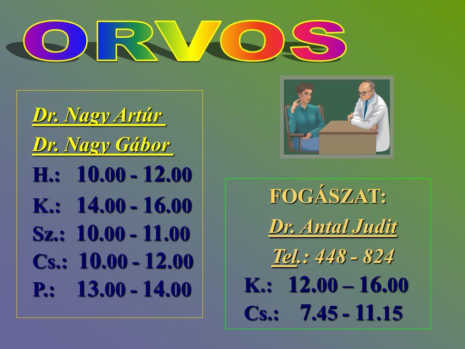Dr. Nagy Artúr Dr. Nagy Gábor H.: 10.00 - 12.00 K.: 14.00 - 16.00 Sz.: 10.00 - 11.00 Cs.: 10.00 - 12.00 P.: 13.00 - 14.00 FOGÁSZAT: Dr. Antal Judit Dr