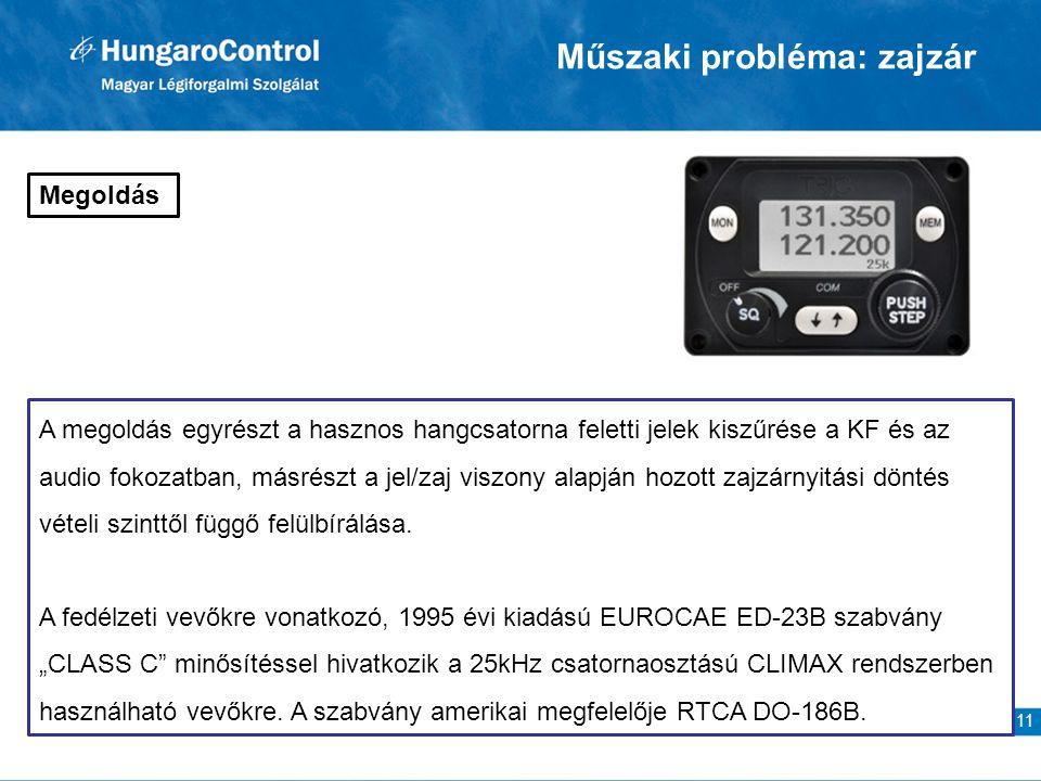 11 Megoldás A megoldás egyrészt a hasznos hangcsatorna feletti jelek kiszűrése a KF és az audio fokozatban, másrészt a jel/zaj viszony alapján hozott zajzárnyitási döntés vételi szinttől függő felülbírálása.