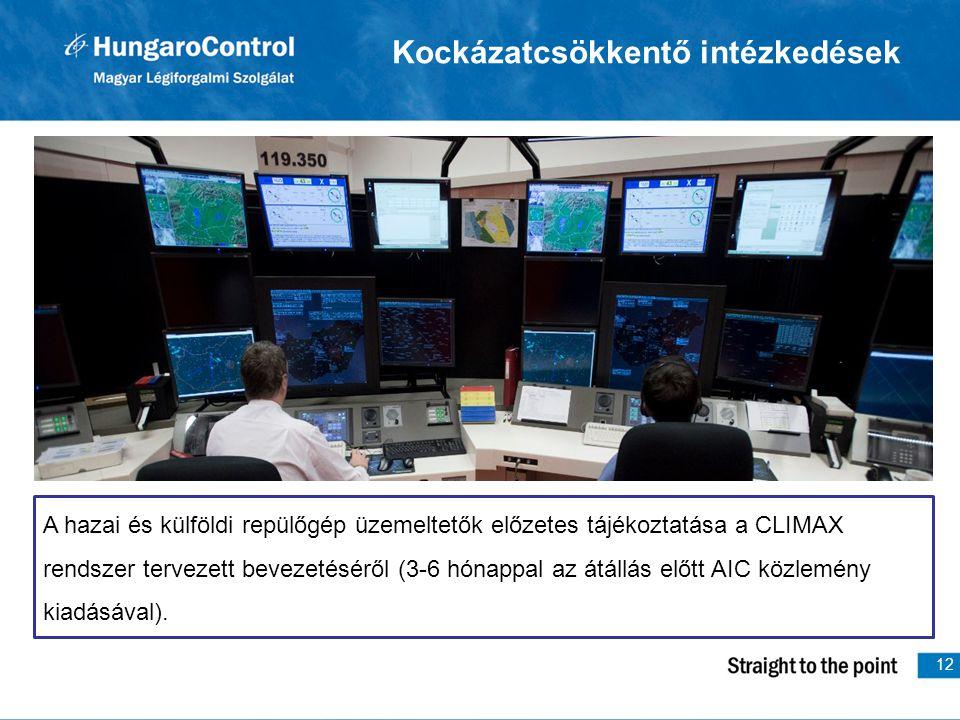 12 Kockázatcsökkentő intézkedések A hazai és külföldi repülőgép üzemeltetők előzetes tájékoztatása a CLIMAX rendszer tervezett bevezetéséről (3-6 hónappal az átállás előtt AIC közlemény kiadásával).