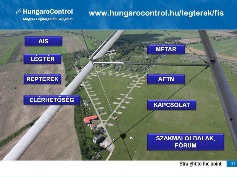 17 www.hungarocontrol.hu/legterek/fis LÉGTÉR AIS METAR REPTEREK AFTN ELÉRHETŐSÉG KAPCSOLAT SZAKMAI OLDALAK, FÓRUM