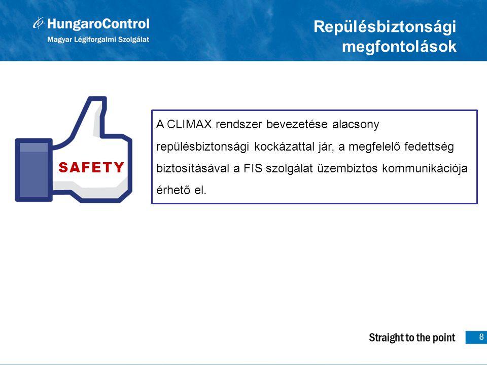 8 Repülésbiztonsági megfontolások A CLIMAX rendszer bevezetése alacsony repülésbiztonsági kockázattal jár, a megfelelő fedettség biztosításával a FIS szolgálat üzembiztos kommunikációja érhető el.