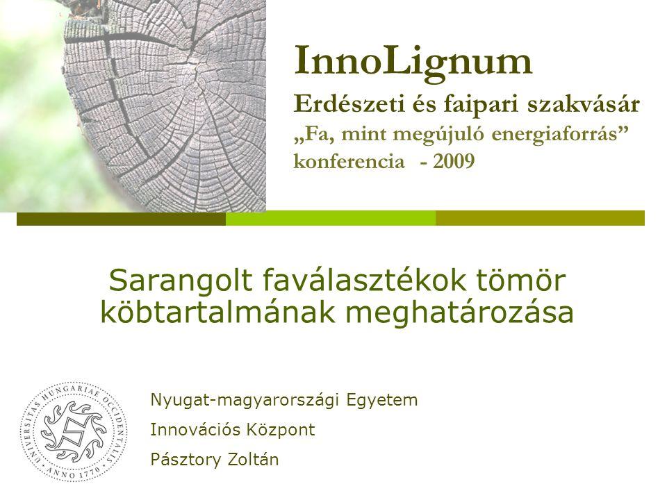 """Sarangolt faválasztékok tömör köbtartalmának meghatározása Nyugat-magyarországi Egyetem Innovációs Központ Pásztory Zoltán InnoLignum Erdészeti és faipari szakvásár """"Fa, mint megújuló energiaforrás konferencia - 2009"""