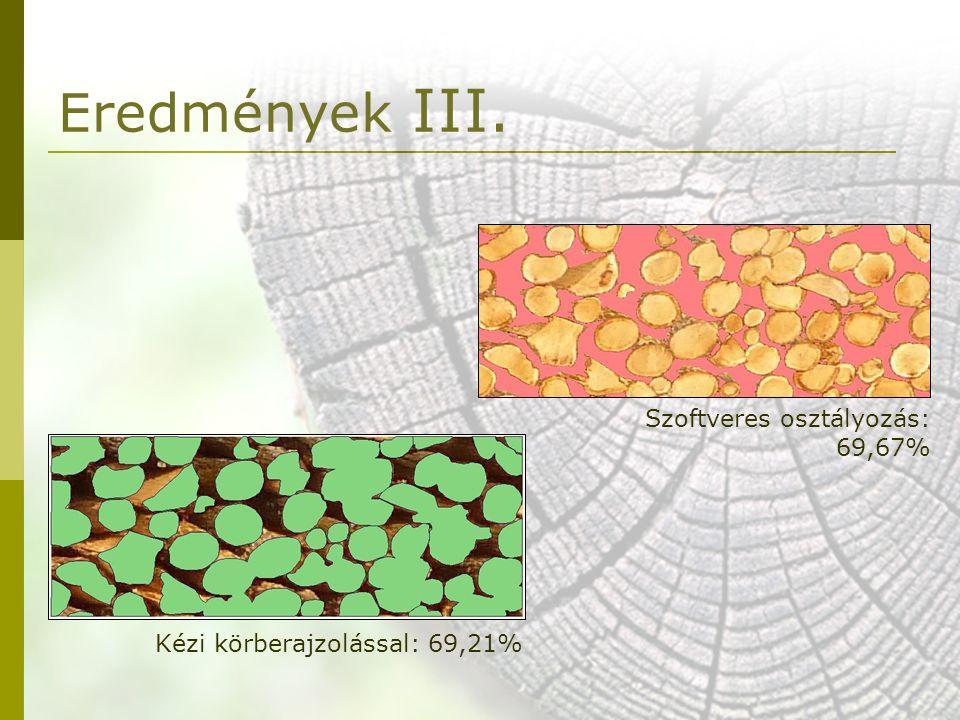 Szoftveres osztályozás: 69,67% Kézi körberajzolással: 69,21% Eredmények III.
