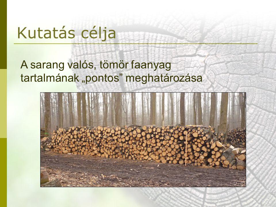 """Kutatás célja A sarang valós, tömör faanyag tartalmának """"pontos"""" meghatározása"""