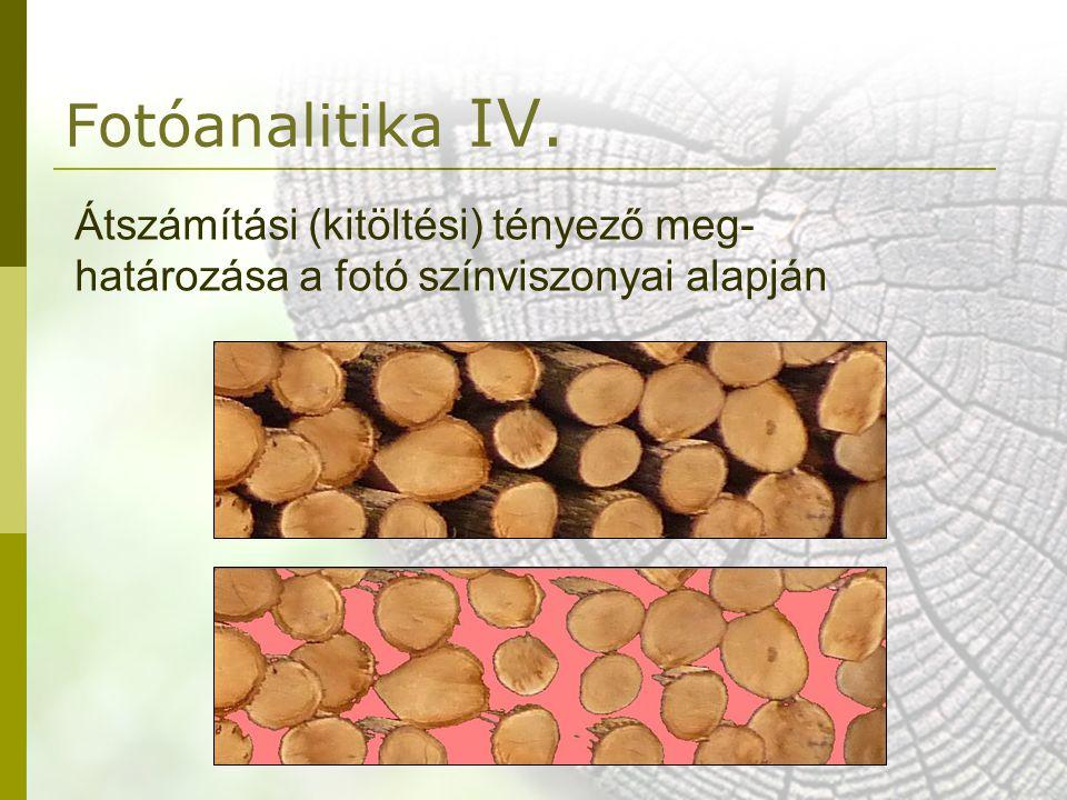 Fotóanalitika IV. Átszámítási (kitöltési) tényező meg- határozása a fotó színviszonyai alapján