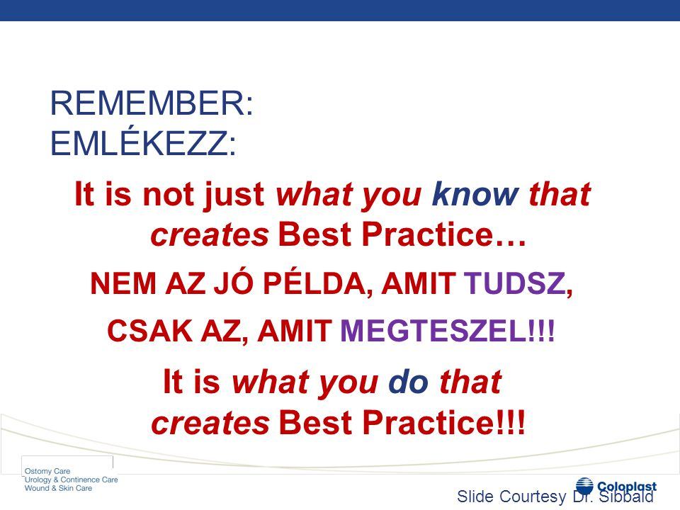 It is not just what you know that creates Best Practice… NEM AZ JÓ PÉLDA, AMIT TUDSZ, CSAK AZ, AMIT MEGTESZEL!!! It is what you do that creates Best P