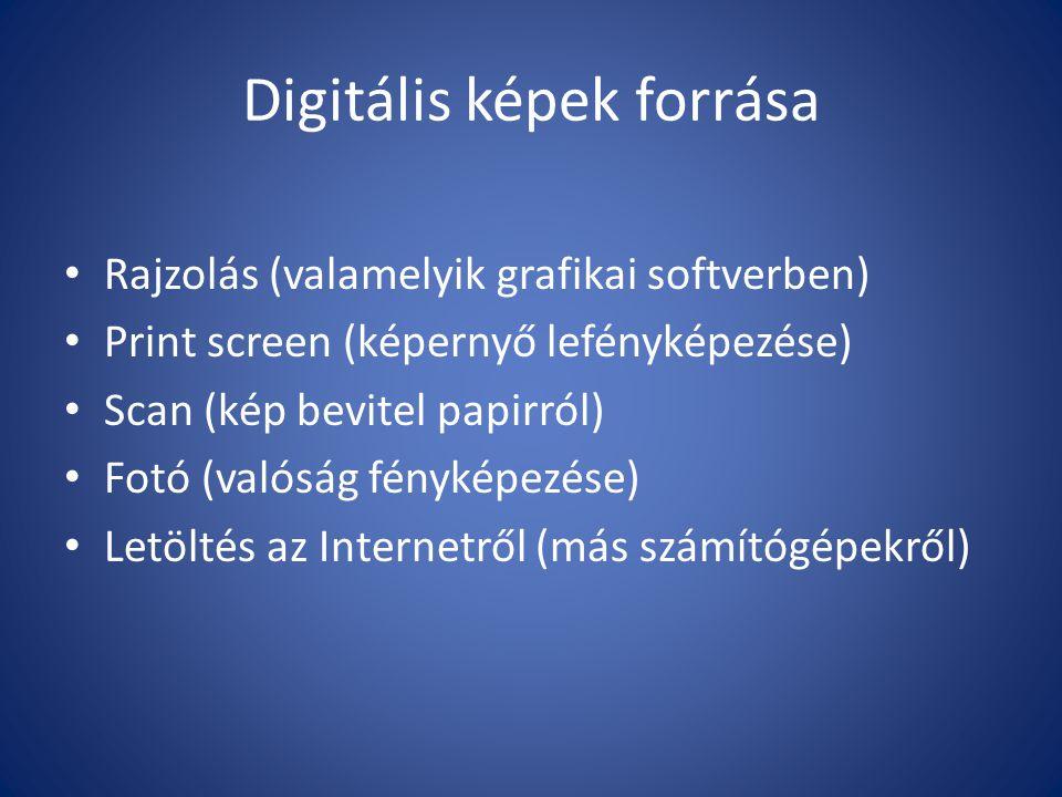 Digitális képek forrása • Rajzolás (valamelyik grafikai softverben) • Print screen (képernyő lefényképezése) • Scan (kép bevitel papirról) • Fotó (val