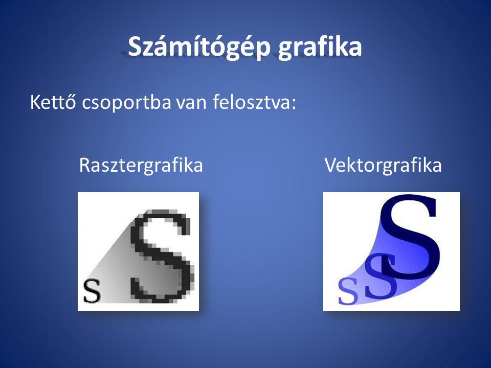 Számítógép grafika Kettő csoportba van felosztva: RasztergrafikaVektorgrafika