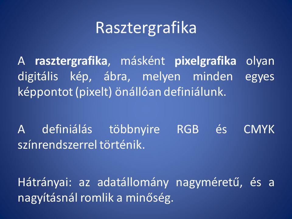 Rasztergrafika A rasztergrafika, másként pixelgrafika olyan digitális kép, ábra, melyen minden egyes képpontot (pixelt) önállóan definiálunk. A defini