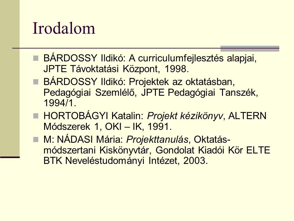 Irodalom  BÁRDOSSY Ildikó: A curriculumfejlesztés alapjai, JPTE Távoktatási Központ, 1998.  BÁRDOSSY Ildikó: Projektek az oktatásban, Pedagógiai Sze